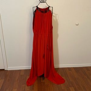 Red Goddess Maxi dress with tie front.